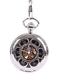 cheap -Unisex Pocket Watch Mechanical manual-winding Casual Hollow Engraving Analog Silver / Titanium Alloy