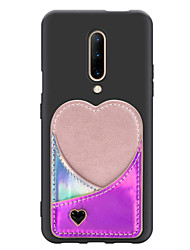 cheap -Case For OnePlus Oneplus 7 / Oneplus 7 pro Card Holder Back Cover Solid Colored / Heart PU Leather / TPU