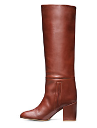 cheap -Women's Boots Chunky Heel Closed Toe Faux Leather Mid-Calf Boots British / Minimalism Spring &  Fall / Winter Black / Brown