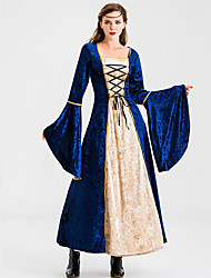 cheap -Princess Retro Vintage Medieval Dress Masquerade Women's Costume Black / Red / Blue Vintage Cosplay Party Halloween Festival Long Sleeve Ankle Length Princess