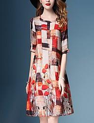 cheap -Women's Basic Shift Dress - Floral Color Block Orange S M L XL