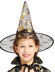 cheap -Witch Hat Halloween Props Masquerade Women's Hat Halloween Halloween Carnival Masquerade Festival / Holiday Tulle Golden Women's Carnival Costumes