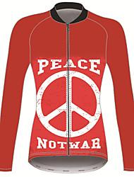 Недорогие -21Grams Знак мира Жен. Длинный рукав Велокофты - Красный Велоспорт Джерси Верхняя часть Сохраняет тепло Устойчивость к УФ Дышащий Виды спорта Зима 100% полиэстер Горные велосипеды Шоссейные велосипеды