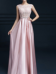 cheap -A-Line Jewel Neck Long Length Polyester Bridesmaid Dress with Appliques