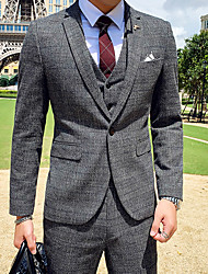 cheap -Blue / Chocolate / Gray Checkered Slim Fit Polyester Suit - Notch Single Breasted One-button