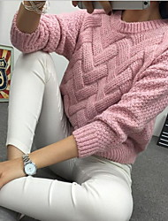 cheap -Women's Solid Colored Long Sleeve Pullover Sweater Jumper, Turtleneck White / Blushing Pink / Camel One-Size