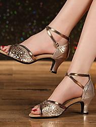 cheap -Women's Dance Shoes Leather Latin Shoes Heel Thick Heel Gold / Silver / khaki