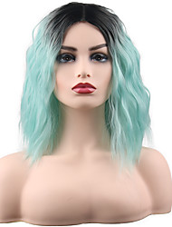 cheap -Ombre Curly Middle Part Wig Ombre Medium Length Synthetic Hair 14 inch Women's Synthetic Best Quality Fashion Ombre