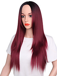 cheap -Synthetic Wig Straight Rihanna Middle Part Wig Ombre Long Ombre Black / Medium Auburn Black / Dark Wine Synthetic Hair 26 inch Women's Odor Free Fashionable Design Adjustable Ombre / Heat Resistant