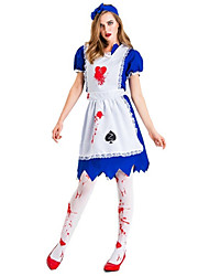 cheap -Maid Costume Dress Cosplay Costume Hat Party Costume Adults' Women's Cosplay Halloween Halloween Festival / Holiday Cotton / Polyester Blend Blue Women's Carnival Costumes / Apron