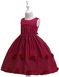 cheap -Kids Girls' Basic Cute Solid Colored Embroidered Sleeveless Knee-length Dress Wine