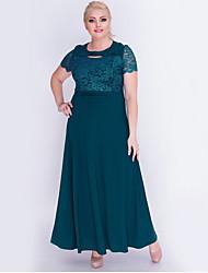 abordables -Femme Maxi Balançoire Robe - Dentelle, Couleur Pleine Vin Bleu Vert L XL XXL Manches Courtes