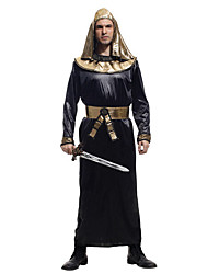 cheap -Egyptian Costume Cosplay Costume Outfits Masquerade Adults' Men's Cosplay Halloween Halloween Festival / Holiday Polyster Black Men's Carnival Costumes / Leotard / Onesie / Belt / Hat