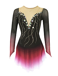 cheap -21Grams Figure Skating Dress Women's Girls' Ice Skating Dress Black Open Back Spandex Stretch Yarn High Elasticity Training Skating Wear Solid Colored Classic Crystal / Rhinestone Long Sleeve Ice