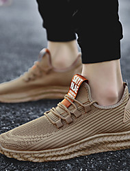 cheap -Men's Trainers Athletic Shoes Comfort Shoes Driving Shoes Light Soles Casual Athletic Daily Outdoor Running Shoes Walking Shoes Tissage Volant Breathable Non-slipping Wear Proof Light Brown Black Gray