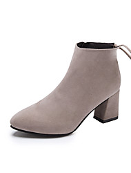 cheap -Women's Heels Chunky Heel Pointed Toe Bowknot PU Booties / Ankle Boots Casual Walking Shoes Fall & Winter Black / Wine / Dark Brown