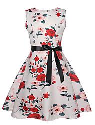 cheap -Kids Girls' Active Sweet Floral Sleeveless Knee-length Dress White