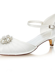 cheap -Women's Wedding Shoes Low Heel Pointed Toe Crystal / Pearl Satin Spring & Summer Ivory