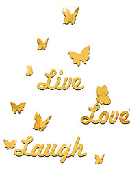 cheap -Butterflies/Animals / English Words/Characters Wall Stickers Mirror Wall Stickers Decorative Wall Stickers, Acrylic Home Decoration Wall Decal Wall Decoration 1pc