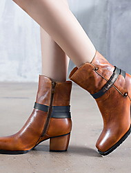 cheap -Women's Boots Chunky Heel Round Toe Nappa Leather Mid-Calf Boots Fall & Winter Camel / Gray