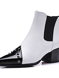cheap -Women's Boots Chunky Heel Pointed Toe Rivet Faux Leather Booties / Ankle Boots Casual / Minimalism Walking Shoes Spring &  Fall / Fall & Winter Black / White / Red / Color Block