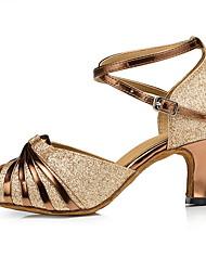 cheap -Women's Latin Shoes Satin Heel Cuban Heel Dance Shoes Silver / Black / White / Silver / Purple / Performance