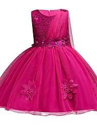 cheap -Princess Knee Length Wedding / Party / Pageant Flower Girl Dresses - Polyester / Polyester / Cotton / Tulle Sleeveless Jewel Neck with Lace / Sash / Ribbon / Appliques