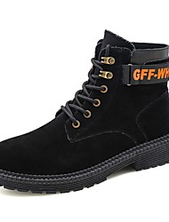 cheap -Men's Suede Shoes Suede Fall & Winter Casual / British Boots Walking Shoes Non-slipping Black / Almond / Khaki / Outdoor / Combat Boots