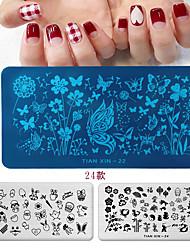 cheap -France Cartoon Geometry Nail Stamping Template Leopard Eye Manicure Nail Art Image Plate Nail Art Print Stencil
