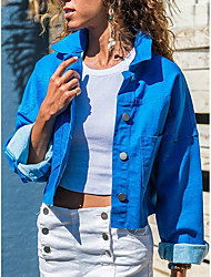 cheap -Women's Daily Short Jacket, Solid Colored Turndown Long Sleeve Polyester Blue / Red / Green