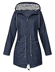 cheap -Women's Daily Long Trench Coat, Solid Colored Hooded Long Sleeve Polyester Blushing Pink / Navy Blue / Yellow