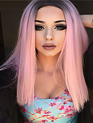 cheap -Synthetic Wig Curly Middle Part Wig Pink Long Pink Synthetic Hair 16 inch Women's Party Pink