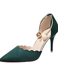abordables -Femme Chaussures à Talons Kitten Heel Bout pointu Polyuréthane Minimalisme Automne Noir / Vert / Rouge