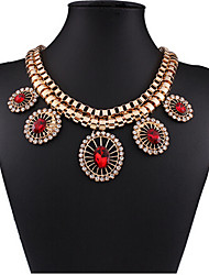 cheap -Women's White Crystal Necklace Geometrical Flower Fashion Zircon Chrome Gold 45+5 cm Necklace Jewelry 1pc For Holiday