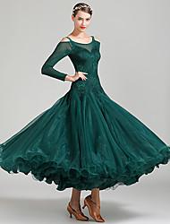 cheap -Ballroom Dance Dress Lace Split Joint Women's Performance Long Sleeve High Lace Organza Tulle