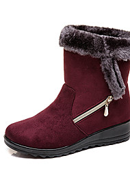 cheap -Women's Boots Low Heel Round Toe Suede Booties / Ankle Boots Casual / Minimalism Winter Black / Brown / Red