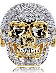 cheap -Men's Ring 1pc Gold Imitation Diamond Alloy irregular Vintage Punk Trendy Daily Jewelry Vintage Style Skull
