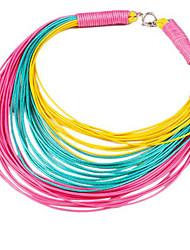 Недорогие -Жен. Цепочка геометрический Радужный Мода Шнур Хром Цвет радуги 45+5 cm Ожерелье Бижутерия 1шт Назначение Повседневные