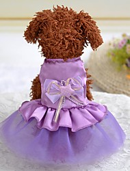 cheap -Dogs Outfits Dress Dog Clothes Black Purple Red Costume Polyster Bowknot Wedding XXS XS