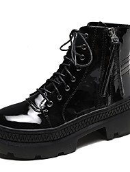 cheap -Women's Boots Platform Round Toe PU Casual / British Walking Shoes Spring &  Fall Black
