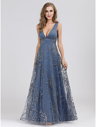 cheap -A-Line V Neck Floor Length Tulle Elegant / Blue Wedding Guest / Prom Dress with Beading / Appliques 2020