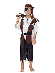 cheap -Pirate Cosplay Costume Outfits Masquerade Kid's Boys' Cosplay Halloween Halloween Festival / Holiday Polyster Brown Carnival Costumes / Top / Pants / Headpiece / Belt / Eye Mask