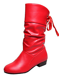 cheap -Women's Boots Block Heel Round Toe Bowknot PU Mid-Calf Boots Casual Walking Shoes Fall & Winter Black / White / Red