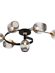 cheap -6-Light 6-head Nordic Style Metal Ceiling Lamp Modern Semi Flush Glass Ceiling lights Living Room Bedroom Dining Room lights
