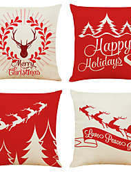 cheap -Set of 4 Happy Holidays Christmas Linen Square Decorative Throw Pillow Cases Sofa Cushion Covers 18x18