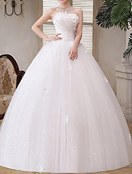 cheap -A-Line Strapless Floor Length Tulle Strapless Glamorous Illusion Detail Wedding Dresses with Crystals / Appliques 2020