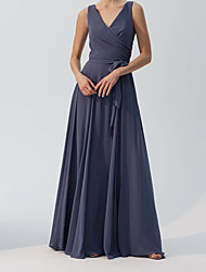 cheap -A-Line V Neck Floor Length Chiffon Bridesmaid Dress with Sash / Ribbon / Pleats