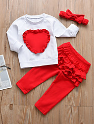 cheap -Baby Girls' Casual / Active Print / Patchwork / Christmas Ruffle / Pleated / Patchwork Long Sleeve Regular Cotton Clothing Set White / Toddler