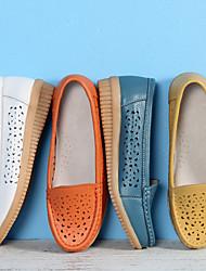abordables -Femme Mocassins et Chaussons+D6148 Talon hétérotypique Bout rond Polyuréthane Classique / Minimalisme Printemps & Automne Blanche / Orange / Jaune