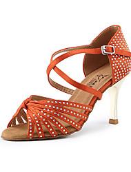 cheap -Women's Dance Shoes Satin Latin Shoes / Dance Sneakers Crystal / Rhinestone / Crystals / Rhinestones Sneaker Slim High Heel Customizable Black / Purple / Orange / Performance